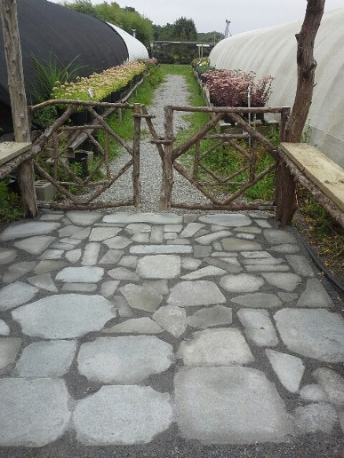 Rustic Gates and Tumbled Bluestone Patio